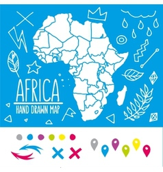 Hand drawn africa travel map with pins and doodles vector