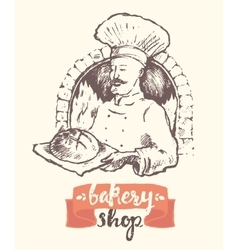 Hand drawn baker man bakery shop sketch vector image