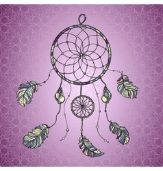 Hand drawn native Indian-American dream catcher vector image