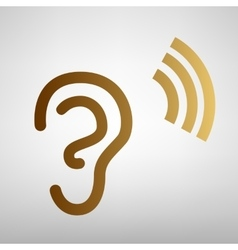 Human ear sign Flat style icon vector image