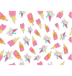 ice cream cartoon pattern sweet icecream vector image