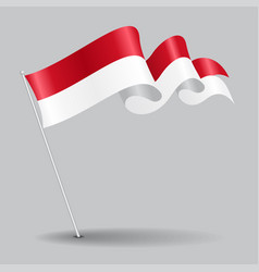indonesian pin wavy flag vector image