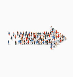 Large group people in an arrow shape vector