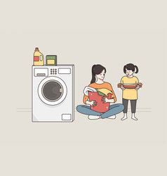 laundry and spending time with children concept vector image
