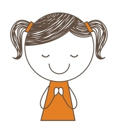 little girl cute icon vector image