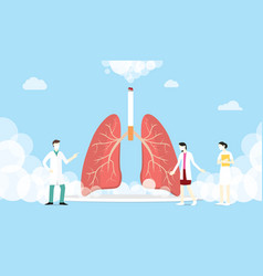 lungs smoke cigarette concept with smoke and team vector image