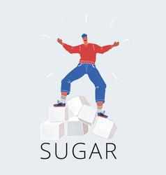 man balanced on sugar cubes vector image