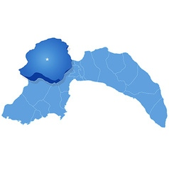 Map of Antalya - Korkuteli is pulled out vector image