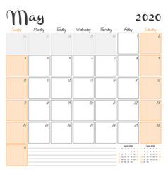 May 2020 monthly calendar planner printable vector