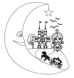 medieval castleprincess carriage and the Moon vector image