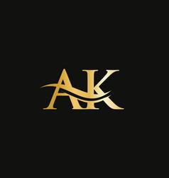 Monogram letter ak logo design ak letter logo vector