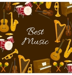 Music poster with musical instrument round frame vector image