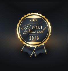 no1 brand year golden label design vector image