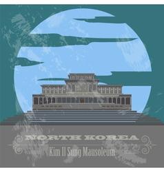 North Korea landmarks Retro styled image vector
