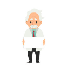 old male scientist in white coat stands holding vector image