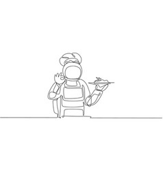 One single line drawing young astronaut giving vector