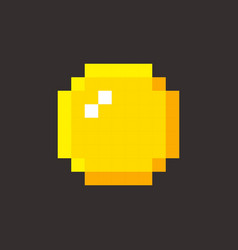 pixel art golden coin retro video game vector image