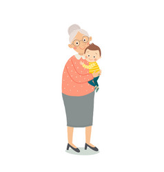 Portrait of cute old woman with a baby vector