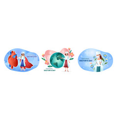 Set cartoons for international doctor s day vector
