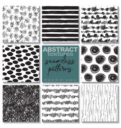 set eight hand drawn ink seamless patterns vector image