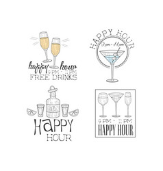 set of 4 hand drawn logos for cocktail bar vector image