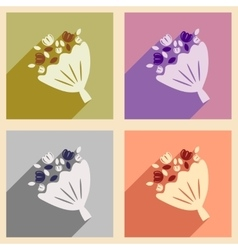 Set of flat web icons with long shadow brides vector
