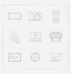 set of tech icons line style symbols with hdd tv vector image