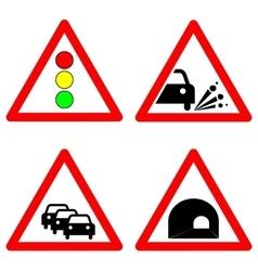Set of traffic signs Traffic lights gravel road vector