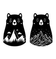 Set with black white bears mountains clouds stars vector
