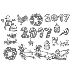 Sketch symbols for 2017 Christmas New Year vector