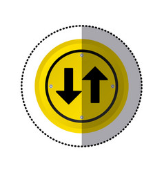 Sticker yellow circular frame two way traffic sign vector