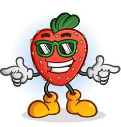 strawberry cartoon with sunglasses vector image