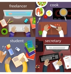 Student freelancer cook and secretary vector