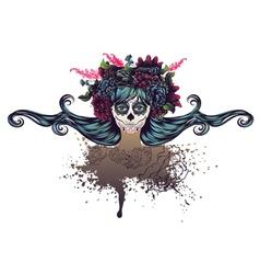 Sugar Skull Girl in Flower Crown6 vector