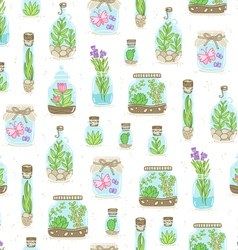 Terrariums on white background seamless pattern vector