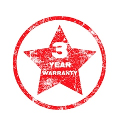 three year warranty red grungy stamp vector image