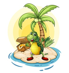 Turtle treasure island vector
