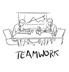 two businessmen working together on table with vector image