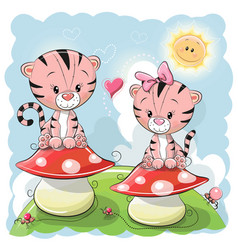Two cute cartoon tigers and mushrooms vector