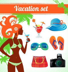 Vacation and travel icon set infographics vector image