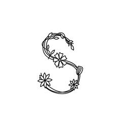 Vintage floral bold letter s logo spring classic vector