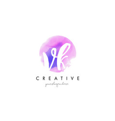vk watercolor letter logo design with purple vector image