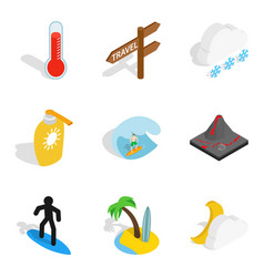 Water peace icons set isometric style vector