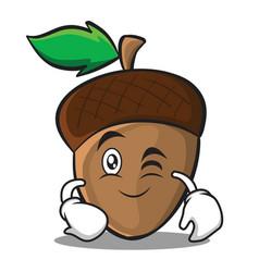 Wink acorn cartoon character style vector