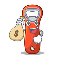 With money bag beer bottle opener isolated on vector