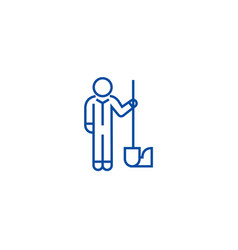 worker with shovel line icon concept worker with vector image