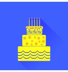 Yellow Birthday Cake Icon vector image