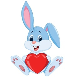 Cute rabbit cartoon holding red heart vector image vector image