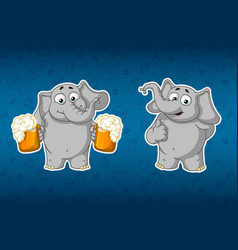 holds mugs of beer and offers to drink finger up vector image vector image