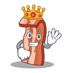 king bacon mascot cartoon style vector image vector image